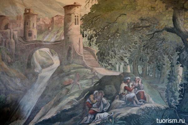 охотники, привал, картина, фреска, зал Охоты, вилла д'Эсте