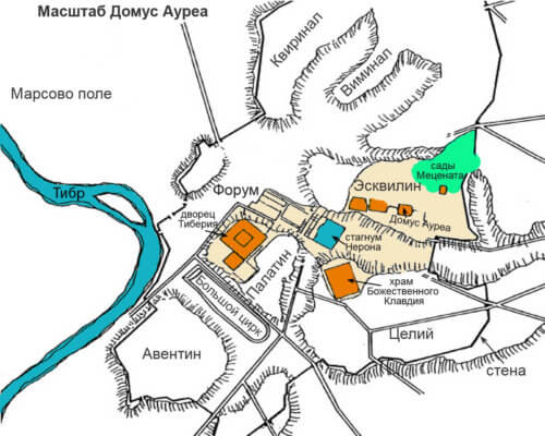 Золотой дом, Домус Ауреа, Рим, размер