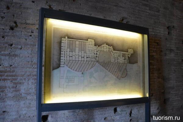 план, стенд, карта, Золотой дом Нерона, Домус Ауреа, экскурсия