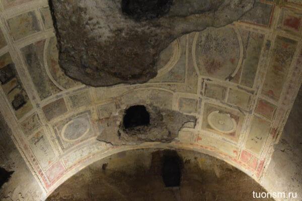 потолок, зал с золотым потолком, Домус Ауреа, Золотой дом Нерона, sala della volta dorata, Domus Aurea, room 80, golden ceiling room