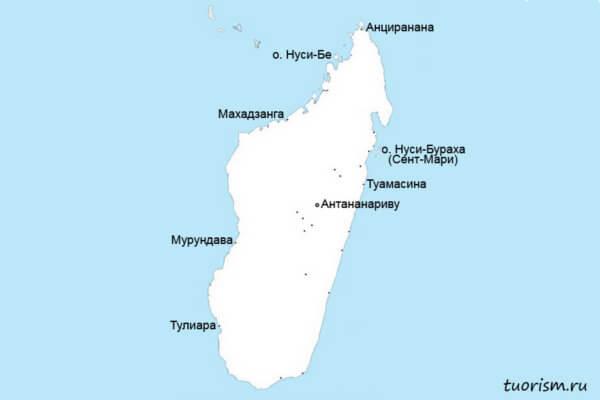 курорты мадагаскара, карта, курортные города, мадагаскар