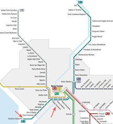 карта, Рим, линия FL1, электрички, от аэропорта, до Рима, остановки