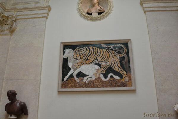 мозаика, opus sectile, лев, ягненок, штучная мозаика, Рим, картина