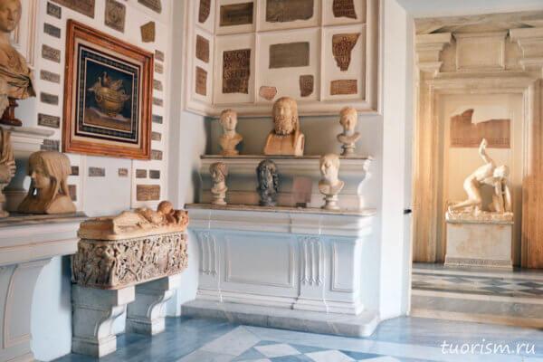 голубиный зал, зал музея, Капитолийские музеи, палацо Нуово, palazzo Nuovo, Capitoline museums, dove hall