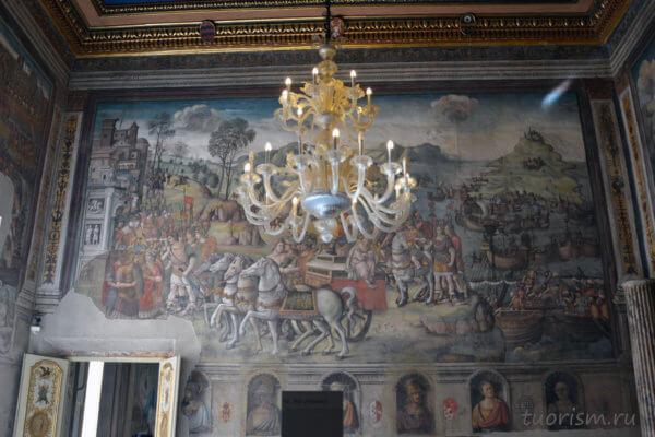 фреска, Рим, Сицилия, Капитолийские музеи, зал Ганнибала, красивая люстра, что посмотреть, интересное, Якопо Рипанда, Jacopo Ripanda, fresco, Capitoline Museums
