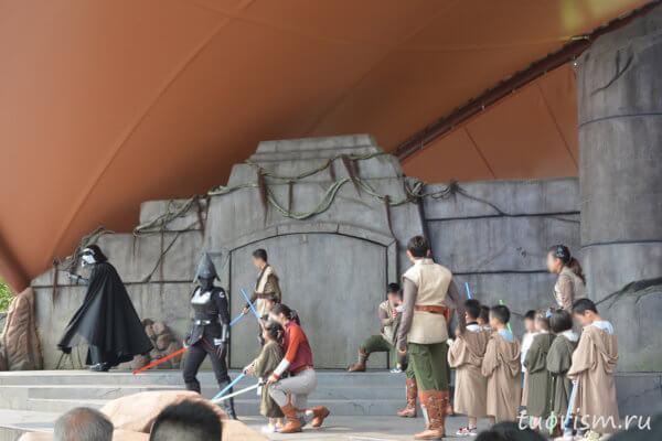 падаваны, дети, Дарт Вейдер, сцена, шоу, Диснейленд, Гонконг, kids, Darth Vader, show, Disneyland, Hong Kong