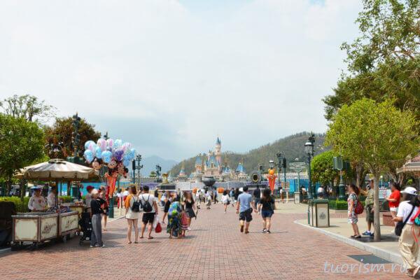 замок Спящей красавицы, замок, Диснейленд, Гонконг, sleeping beauty castle, Disneyland, Hong Kong, main street usa