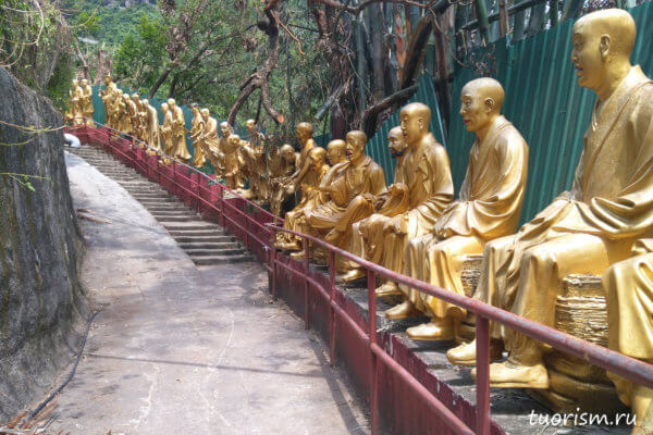Будды, Гонконг, золотые Будды, монастырь, 10000 Будд, подъём, тропа, дорога, достопримечательность, что посмотреть, интересное, golden Buddha, statues, Hong Kong, path, along the road. 10000 buddhas monastery