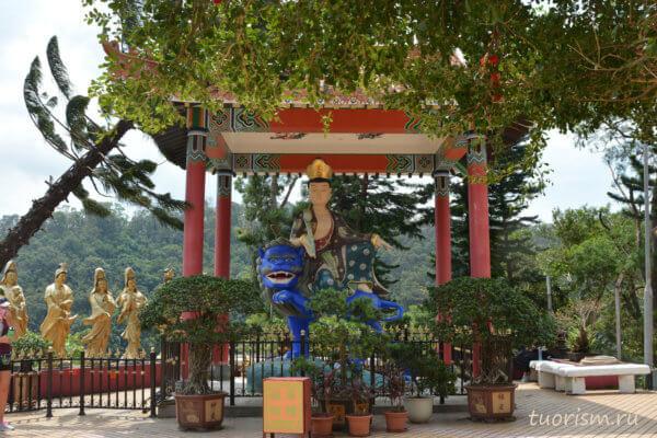 Манджушри, Вэньшу, павильон, синий лев, Будда, буддистский святой, Гонконг, Manjushri, Wenshu, blue tiger, Buddhism