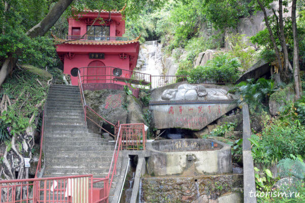 Водопад Гуаньинь, источник, павильон, Гонконг, лежащий монах, толстый монах, статуя,родник