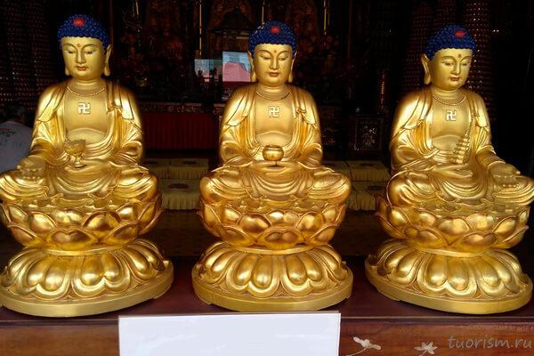 Будды, статуэтки, трое, золотые Будды, Гонконг